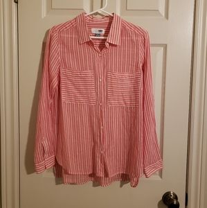 2/$30 Old Navy Classic Blouse Pink & White Striped